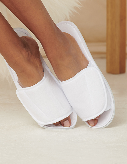 Open Toe Slipper With Hook and Loop Fastening